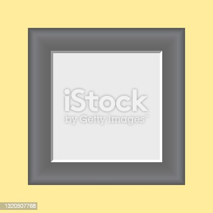 istock Empty square picture frame, Photo container template, Vector photo frame, yellow background photoframe 1320507768