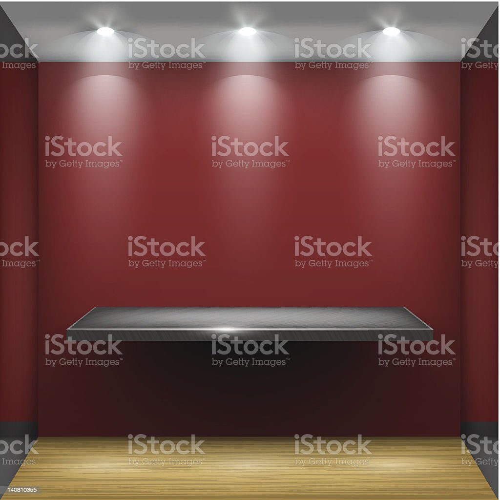 Empty steel shelf in red room, illuminated by searchlights. royalty-free stock vector art