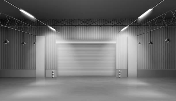 Leeres Lagerhaus, Lagerausstattung, Fabrik – Vektorgrafik