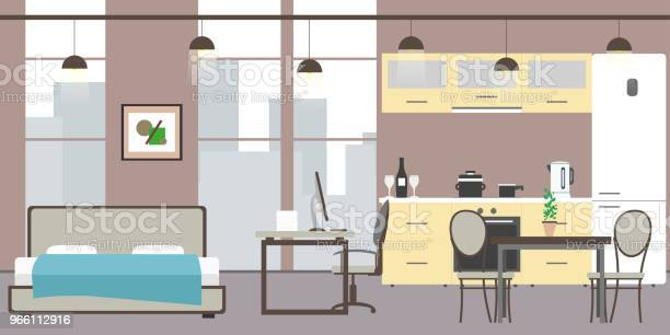 Empty Studio Apartment With Big Windows — стоковая векторная графика и другие изображения на тему Без людей