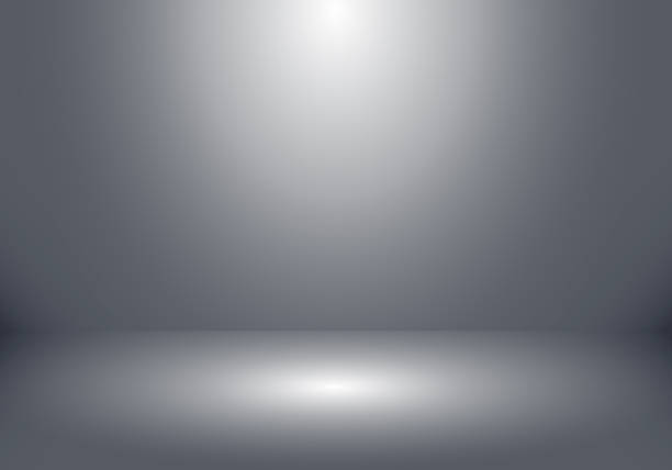 3D empty studio room show booth for designers with spotlight on gray gradient background. 3D empty studio room show booth for designers with spotlight on gray gradient background. Display your product or artwork. Vector illustration studio stock illustrations
