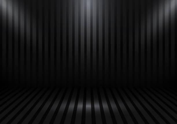 stockillustraties, clipart, cartoons en iconen met 3d lege studio kamer show booth voor ontwerpers met strepen en spotlight op black gradient achtergrond. uw product of illustratie weergeven. - photography curtains
