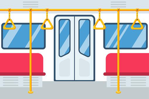 Empty subway car. City public transport. Vector illustration flat design