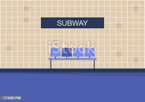 istock Empty Subway, no passengers on a platform, urban transportation 1216061296