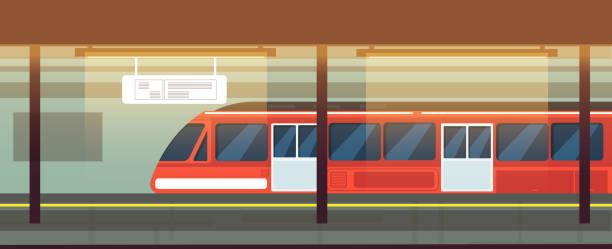 illustrations, cliparts, dessins animés et icônes de intérieur de station de métro vide avec illustration vectorielle métro - métro