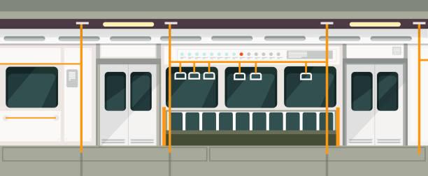 illustrations, cliparts, dessins animés et icônes de rame de métro vide à l'intérieur de la vue. intérieur de vecteur de transport métro - métro