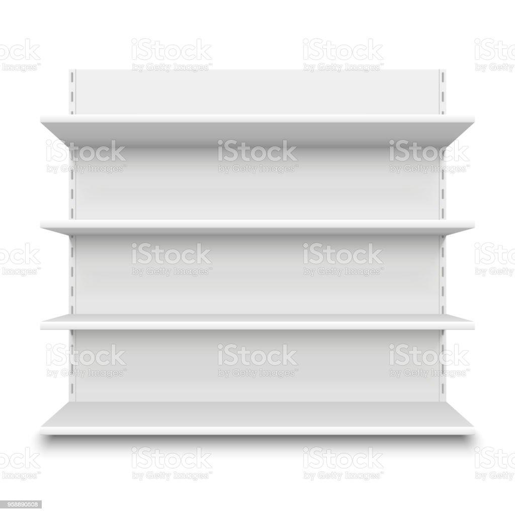 Empty supermarket shelf. Retail store white blank shelves for merchandise. Isolated shelving stand vector illustration