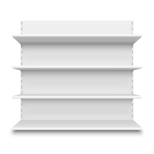 leeren supermarkt-regal. einzelhandel speichern weiße leere regale für die ware. isolierte regal stand vektor-illustration - kastenständer stock-grafiken, -clipart, -cartoons und -symbole
