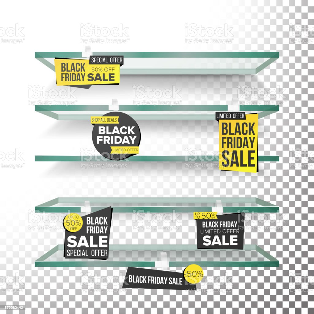 Empty Supermarket Shelves, Black Friday Sale Wobblers Vector. Price Tag Labels. Black Friday Selling Card. Discount Sticker. Sale Banners. Isolated Illustration vector art illustration