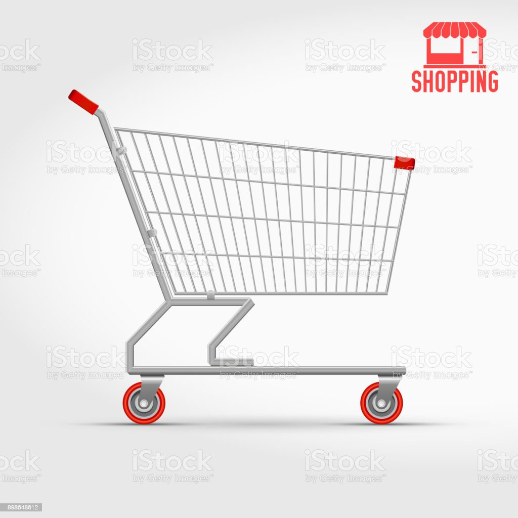 Empty Supermarket Shopping Cart Isolated on White, Side View