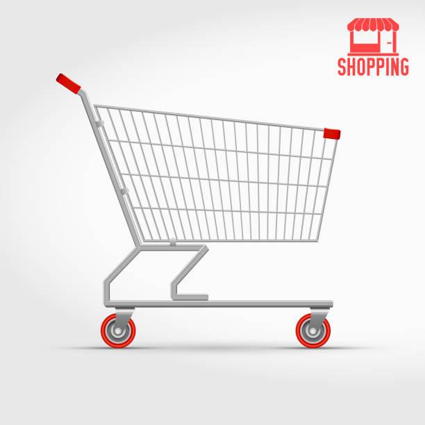 stockillustraties, clipart, cartoons en iconen met lege supermarkt winkelwagen geïsoleerd op wit, zijaanzicht - winkelwagentje