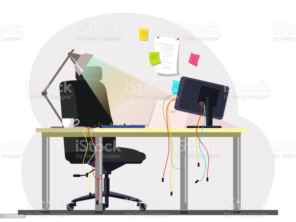 Empty Sysadmin Office Room Workplace With Computer Wires Keyboard On Desk Comfortable Chair Reminder Colorful Stickers Hanging On Wall Workstation Vector Workspace Interior Illustration Stock Illustration Download Image Now Istock