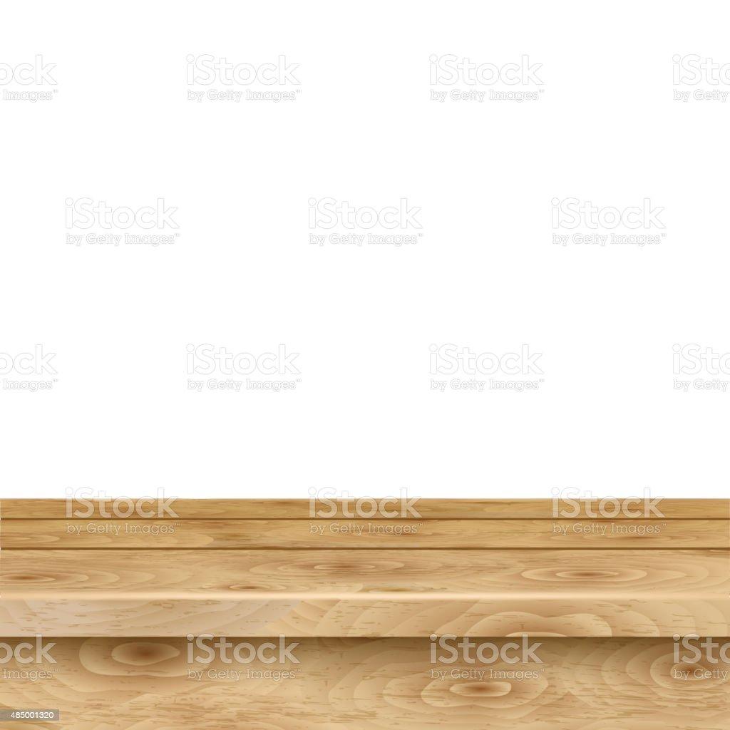 Empty table of light brown wooden planks vector art illustration