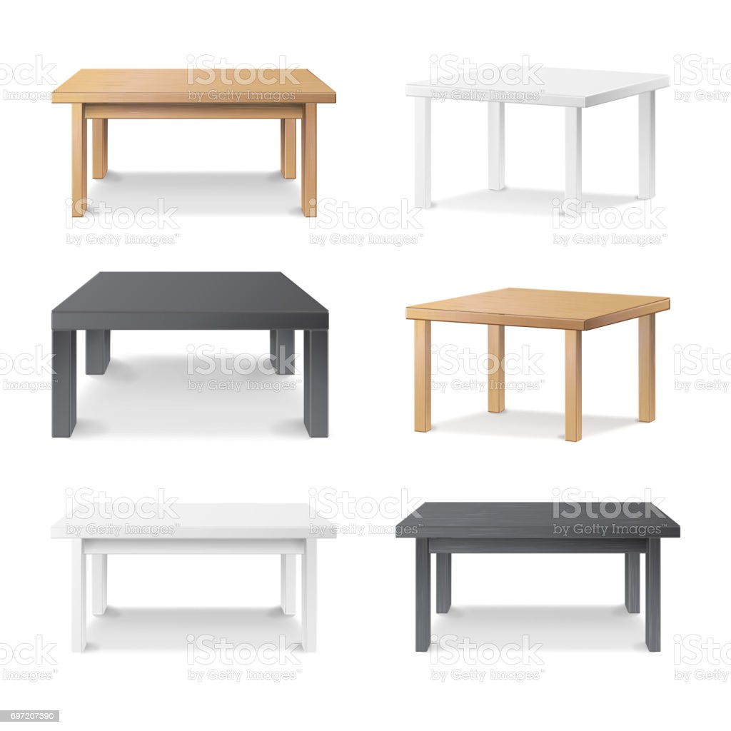 Empty Table Set Vector. Wooden, Plastic, White, Black. Isolated Furniture, Platform. Template For Object Presentation. Realistic Vector Illustration