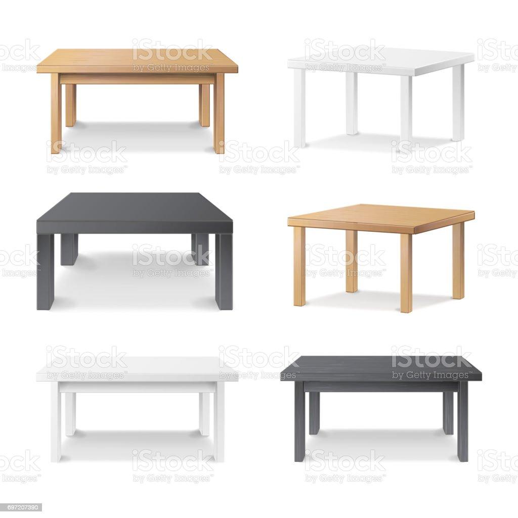 Empty Table Set Vector. Wooden, Plastic, White, Black. Isolated Furniture, Platform. Template For Object Presentation. Realistic Vector Illustration vector art illustration