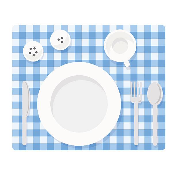 空の食器セット - ランチョンマット点のイラスト素材/クリップアート素材/マンガ素材/アイコン素材