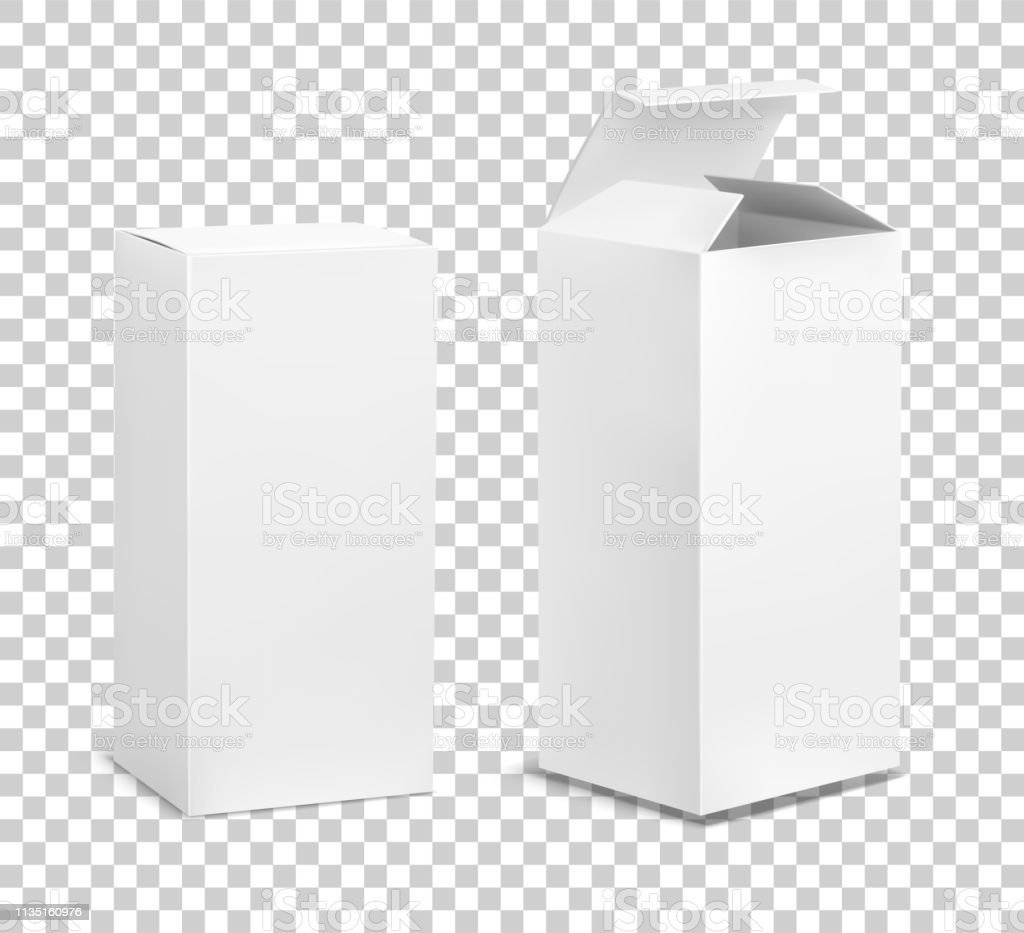 Empty tall box. Cardboard cosmetic boxes rectangular blank package...