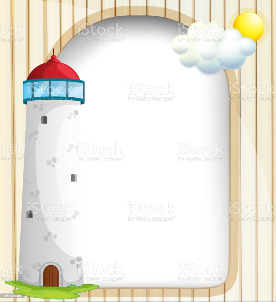 Empty template at the back of a tower vector art illustration