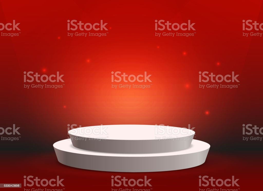 Empty template of white round podium on red background vector art illustration