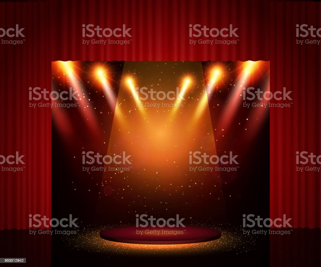 Empty Theatre Stage With Curtain Background For Show Presentation Concert Design Royalty