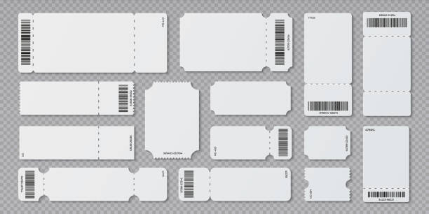 Empty ticket template. Concert movie theater and boarding blank white tickets, lottery coupons with ruffle edges. Vector isolated set Empty ticket template. Concert movie theater and boarding blank white tickets, lottery coupons with ruffle edges. Vector isolated modern coupon set for travelling festival airplane airplane ticket stock illustrations