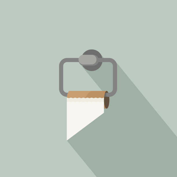 Empty toilet paper Empty toilet paper with long shadow in flat style. Toilet paper holder with empty brown tube toilet paper stock illustrations