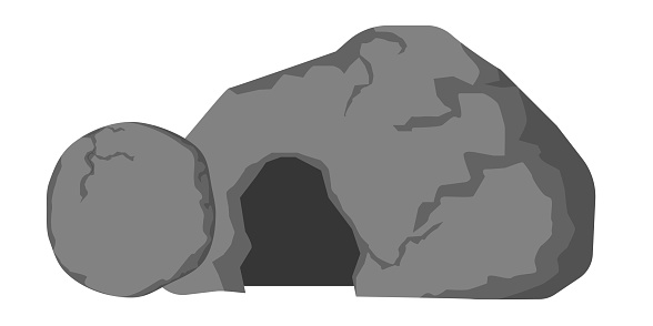 Empty tomb of Jesus and rolled away stone. Open cave. Easter illustration