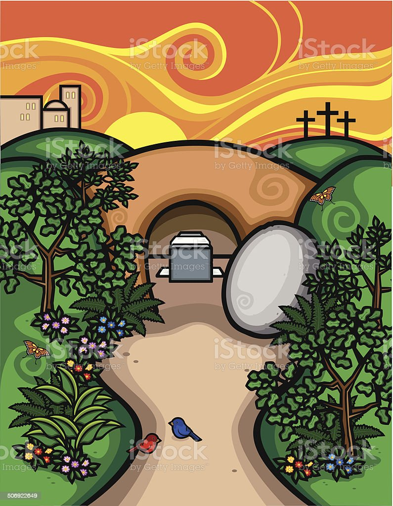 A vector illustration depicting the Biblical story of the Empty Tomb .