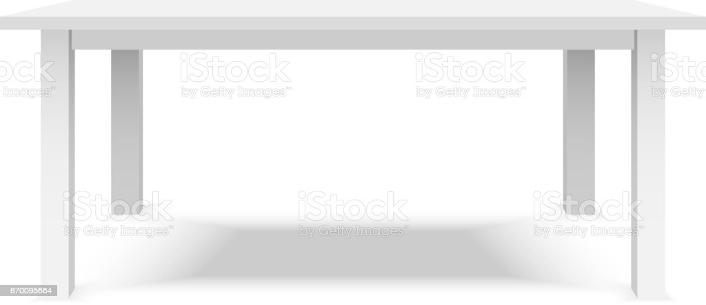 Empty top of white plastic table isolated on white background. For product display template. Vector 3d table for object presentation.