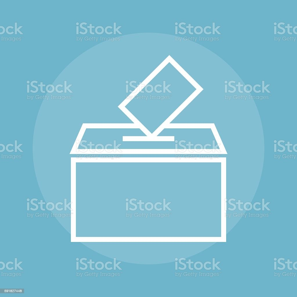 Empty transparent ballot box with marked vector art illustration