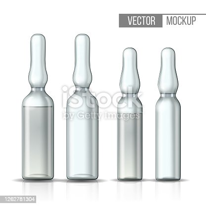 istock Empty transparent glass ampule and ampule with vaccine or drug for medical treatment. 1262781304