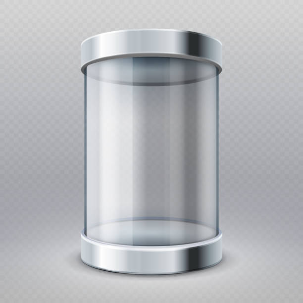 Empty transparent glass cylinder 3d showcase isolated vector illustration Empty transparent glass cylinder 3d showcase isolated vector illustration. Museum and market gallery box cylinder stock illustrations
