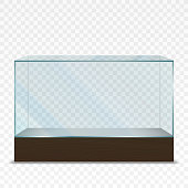 Vector illustration of  transparent horizontal glass showcase on plain backgrounds
