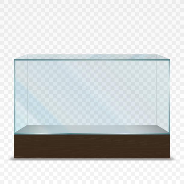 空の透明な水平ガラスショーケース - 水族館点のイラスト素材/クリップアート素材/マンガ素材/アイコン素材
