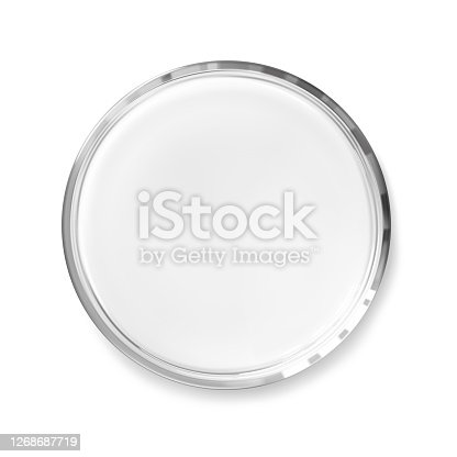 Empty transparent petri dish isolated realistic vector illustration. Science and laboratory concept