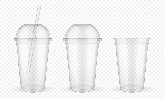 Empty transparent plastic cups with straw on white background vector mock up