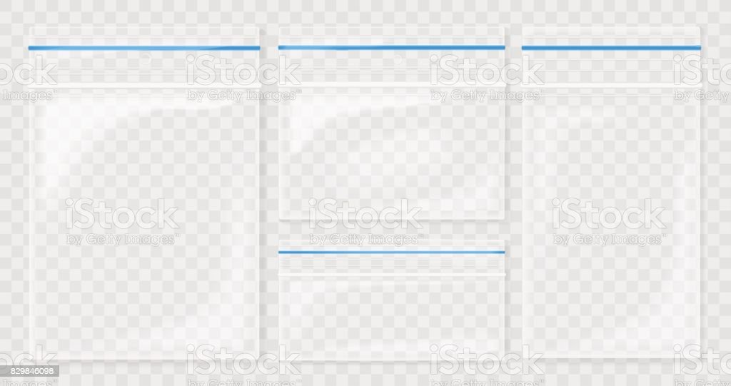 Empty Transparent Plastic Pocket Bags. Blank vacuum zipper bag. polythene container set on the transperant background.