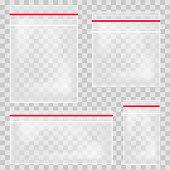 Empty transparent plastic pocket bags. Blank vacuum zipper bag. polythene container set on the transparent background. Vector illustration