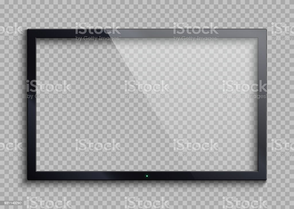 Empty tv frame with reflection and transparency screen isolated. Lcd monitor vector illustration vector art illustration