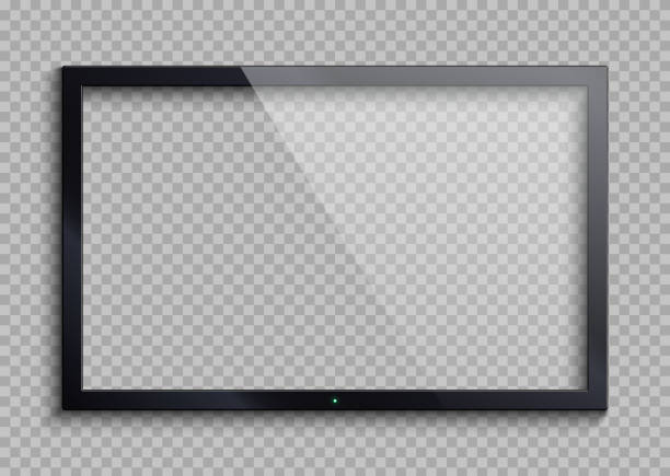 empty tv frame with reflection and transparency screen isolated. lcd monitor vector illustration - monitor komputerowy stock illustrations