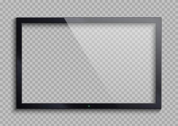 bildbanksillustrationer, clip art samt tecknat material och ikoner med töm tv ram med reflektion och öppenhet skärm isolerade. lcd monitor vektorillustration - glas
