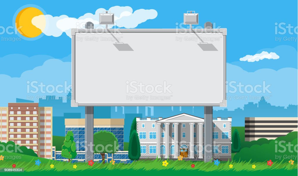 Empty urban billboard with lamp and cityscape vector art illustration
