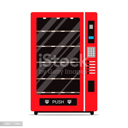 Empty vending machine isolated on white background. Automat with shelves for food or other products, automatic seller. Penny-in-the-slot, red metal vendor machine flat illustration in vector.