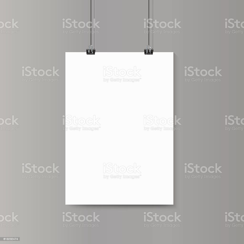 Empty vertical white paper poster mockup on grey wall with vector art illustration