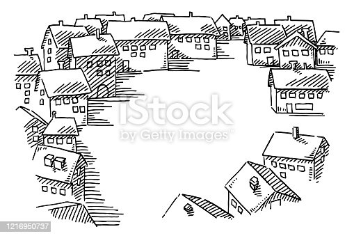 Hand-drawn vector drawing of an Empty Village Square with No People. Black-and-White sketch on a transparent background (.eps-file). Included files are EPS (v10) and Hi-Res JPG.