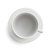 empty vintage white cup with craquelure on white background