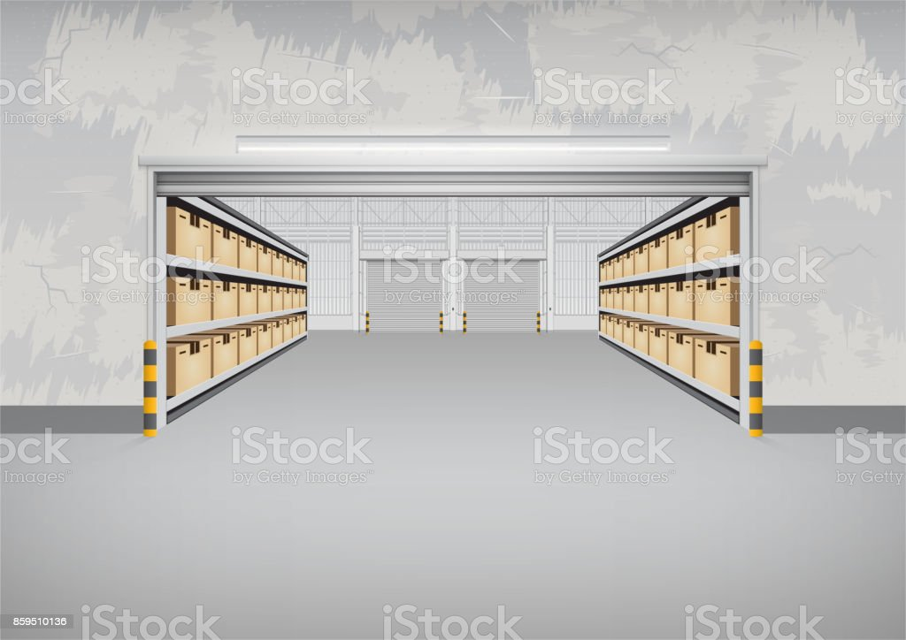 Empty warehouse building vector art illustration