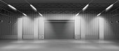 Empty industrial warehouse interior with concrete flooring, illuminating lamps on ceiling, rolling shatter gates. Delivery service storehouse, rental storage facility 3d realistic vector illustration