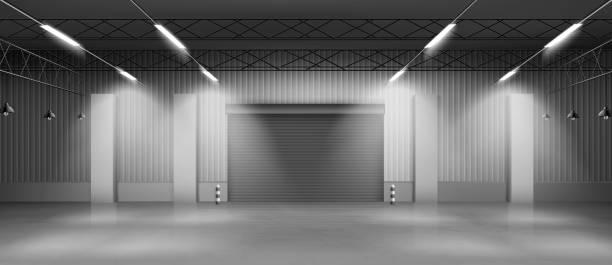 Leere Lagerhalle Innenraum realistischer Vektor – Vektorgrafik