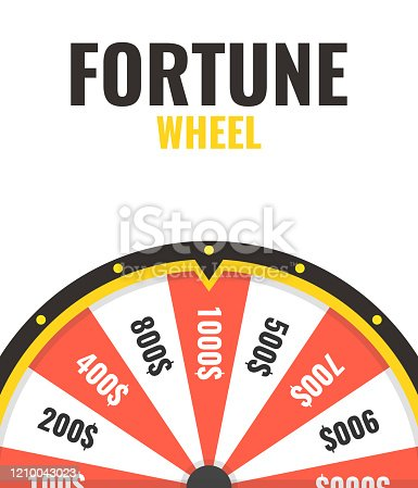 istock Empty wheel of fortune lottery luck. Spin button in center. Win fortune roulette. Gamble chance leisure. Vector illustration. 1210043023
